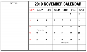 Printable November 2019 Calendar Fillable Notes