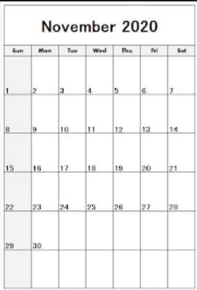 Printable November 2020 Calendar Free Templates
