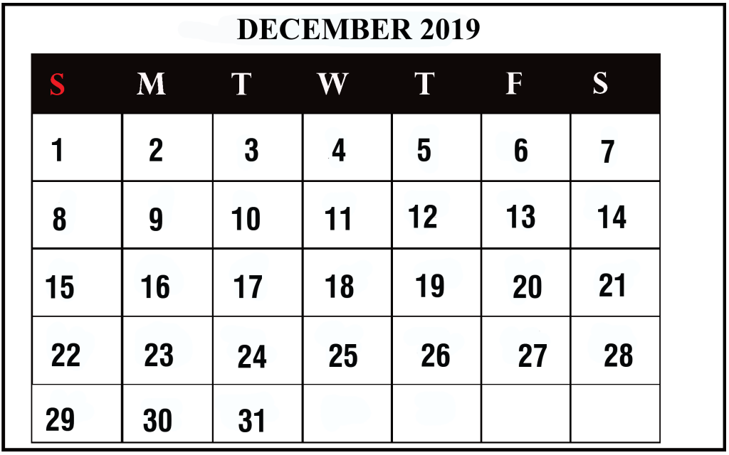 december 2019 fillable calendar