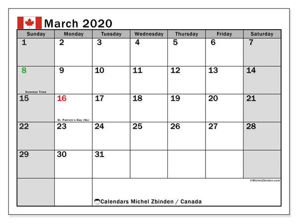 march 2020 holidays canada