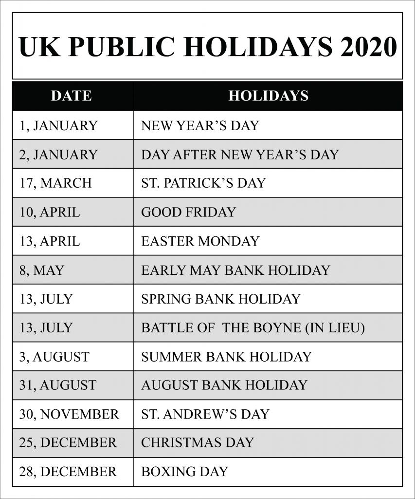 march 2020 holidays uk