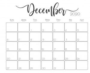 2020 Calendar For December