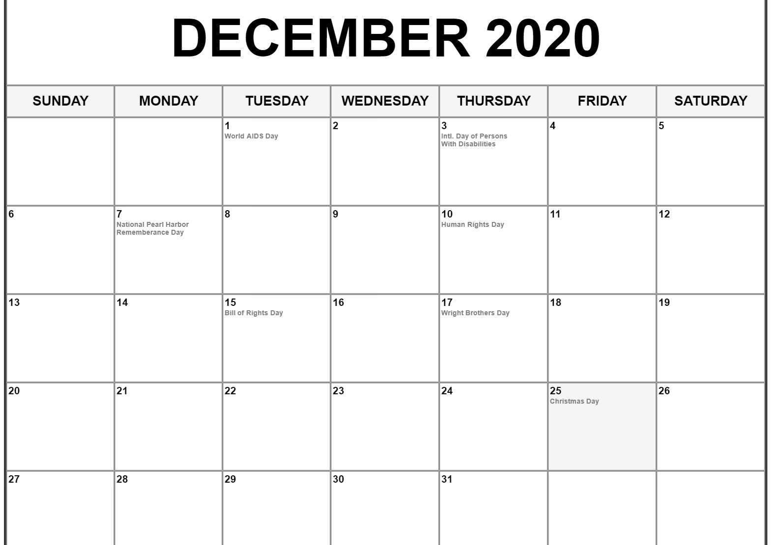 Blank Calendar For December 2020
