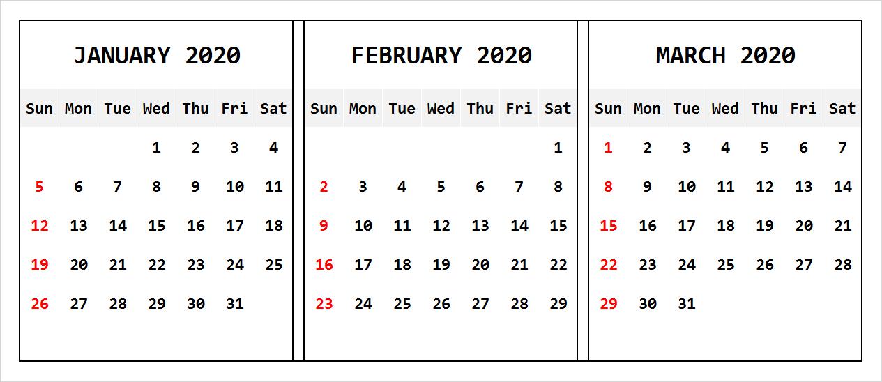 Blank January February March 2020 Calendar Printable