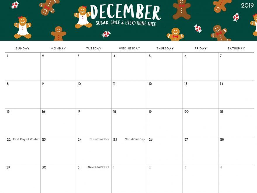 Calendar For December 2019 Template