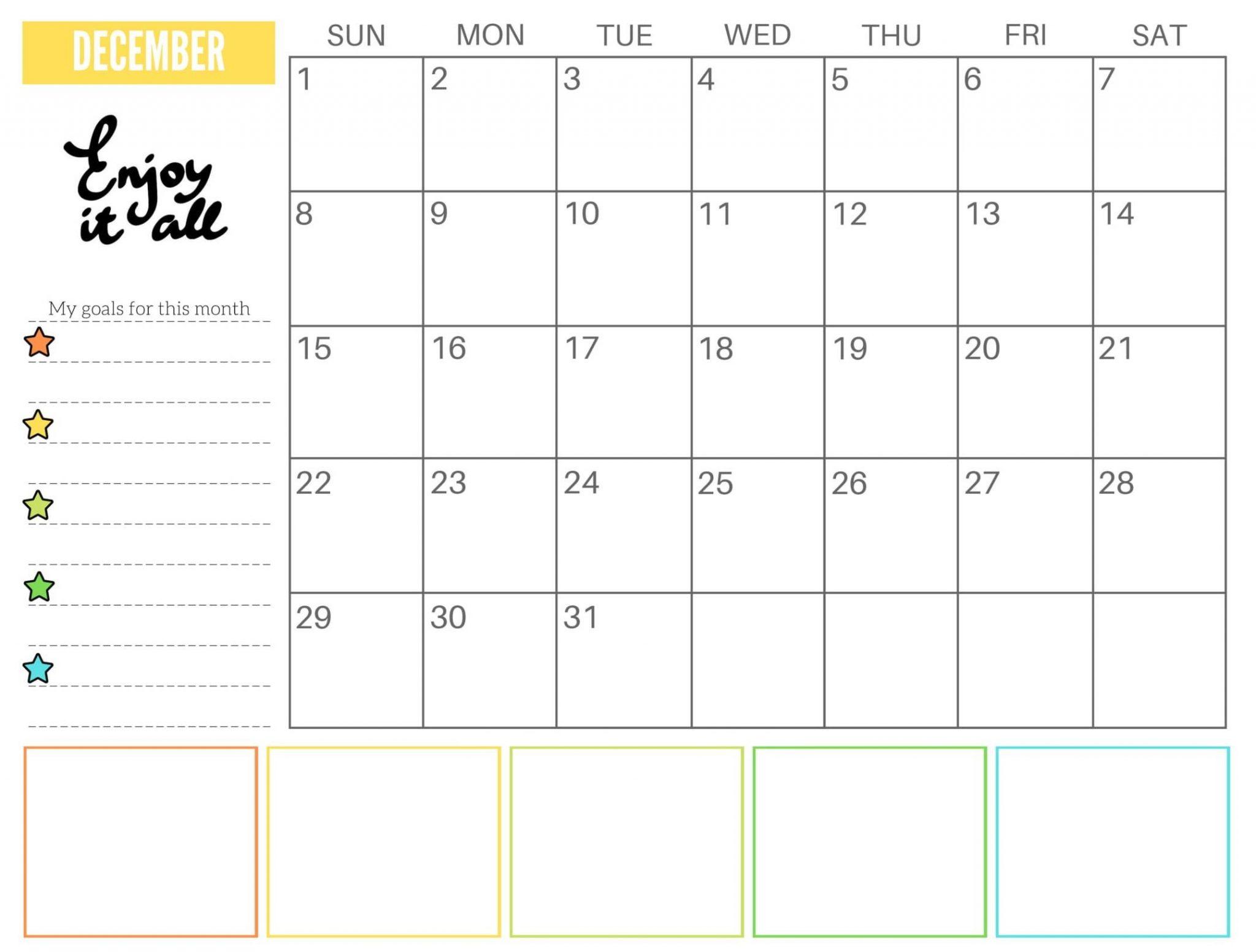 Calendar of December 2019