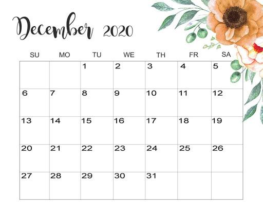 Cute Calendar December 2020