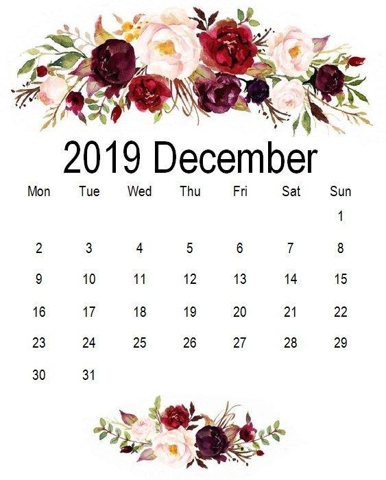 Cute December 2019 Floral Calendar