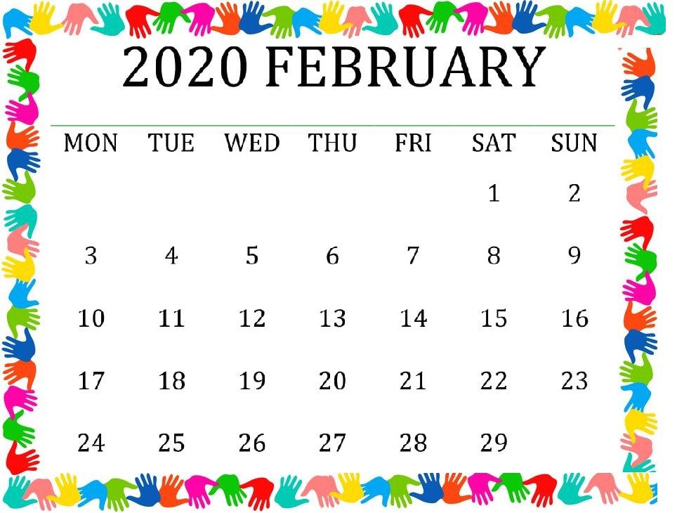 Cute February 2020 Calendar For Desk