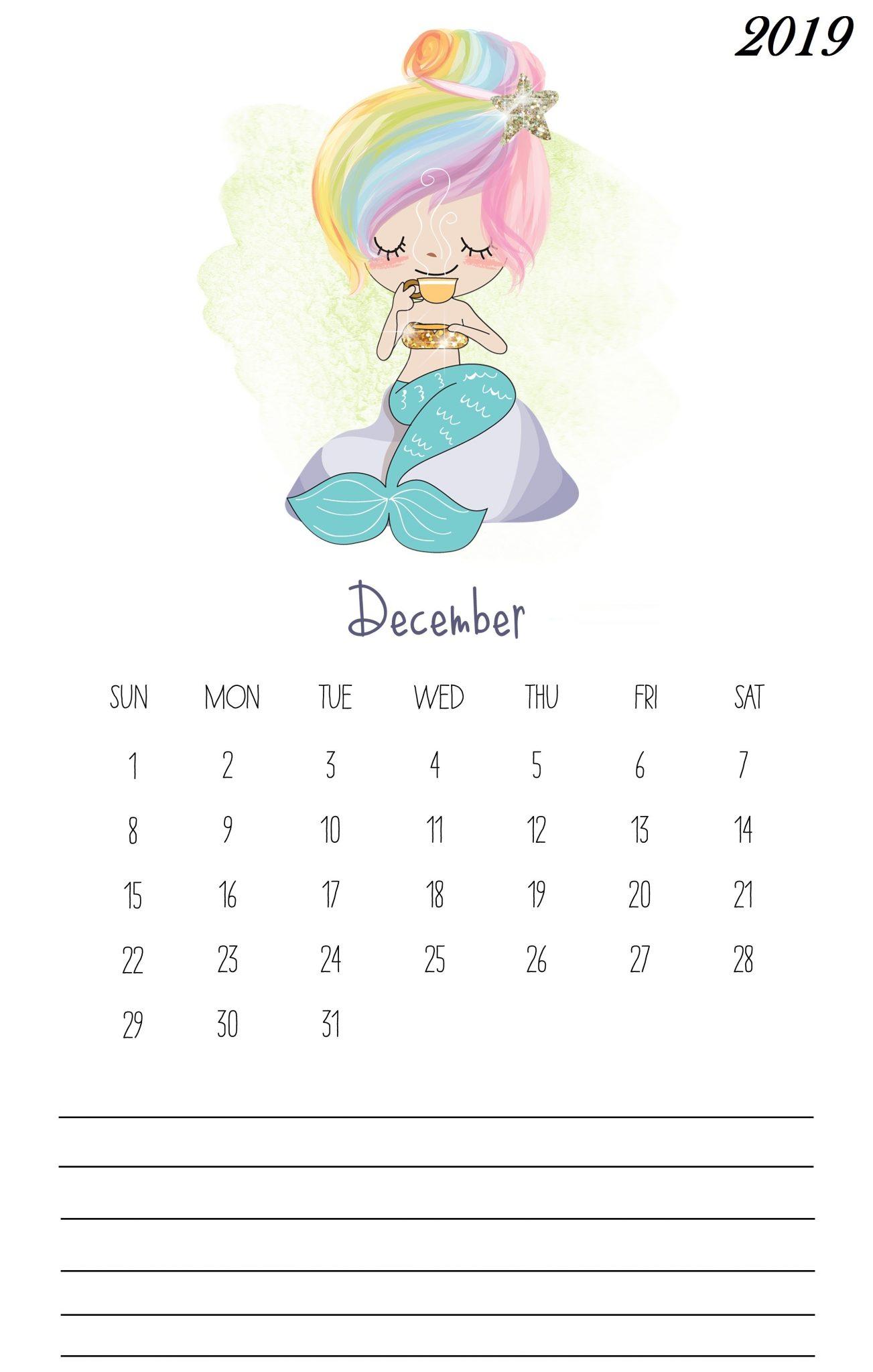December 2019 Cute Calendar Template
