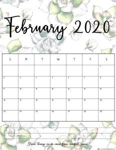 Floral February 2020 Calendar