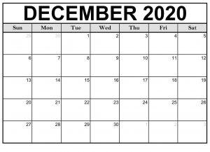 Printable Dec 2020 Calendar