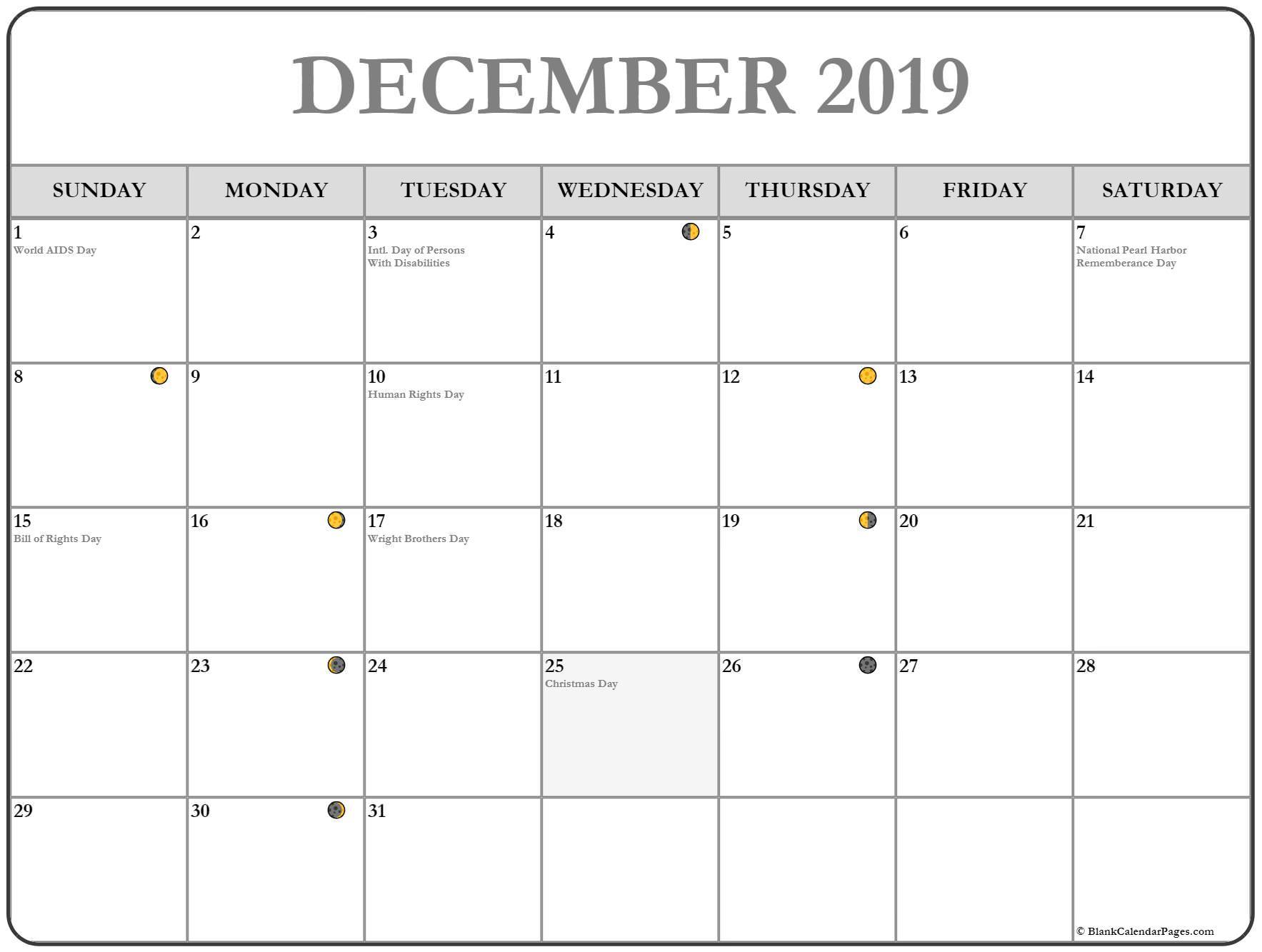 Full Moon December 2019 Calendar
