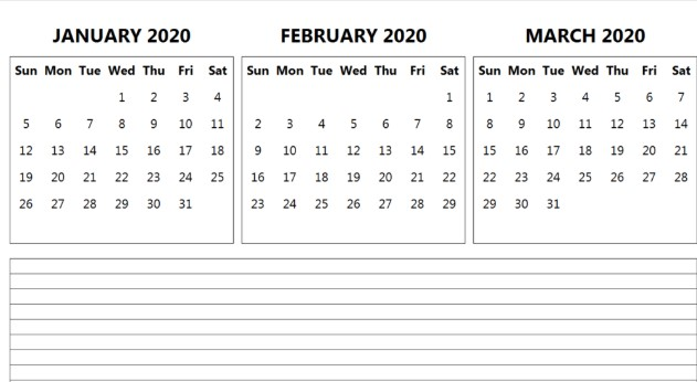 January February March 2020 Calendar Template