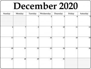 Monthly Calendar December 2020