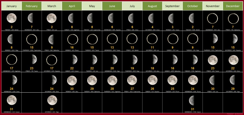 Moon Phases Calendar For 2019 December
