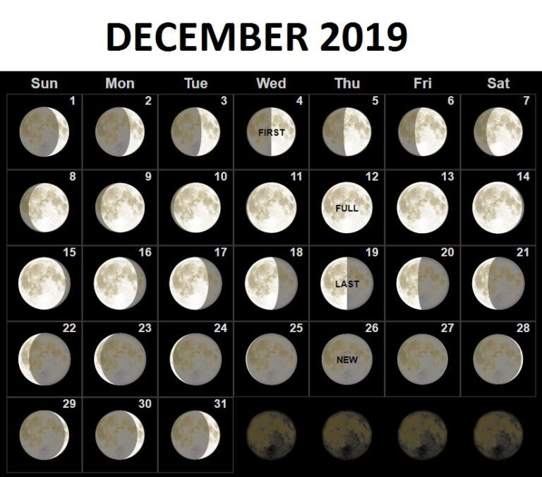 Moon Phases Template For December 2019