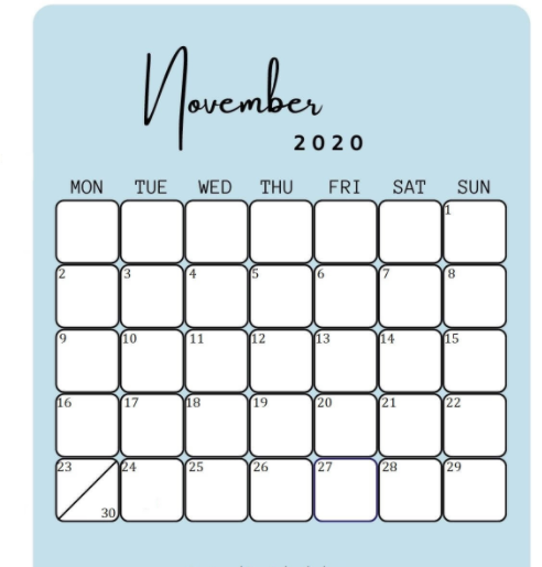 November 2020 Calendar Light blue