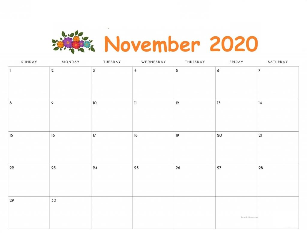 November 2020 Cute Calendar