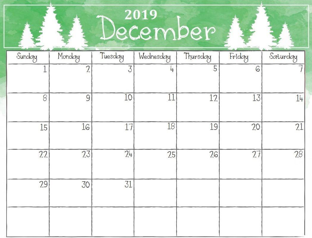 Printable Calendar For December 2019