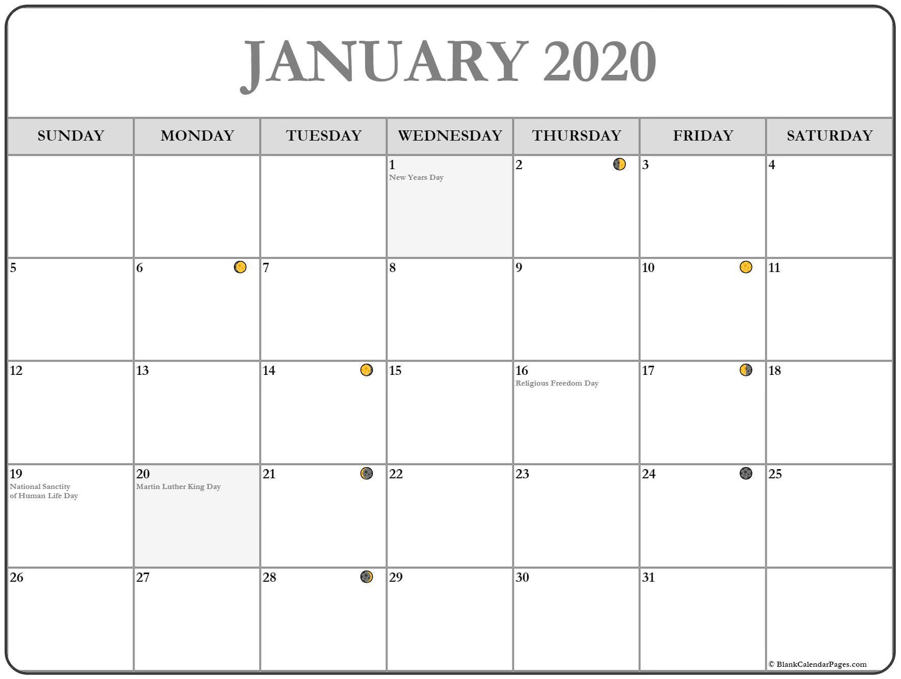 January 2020 Lunar Calendar Moon Phase Calendar