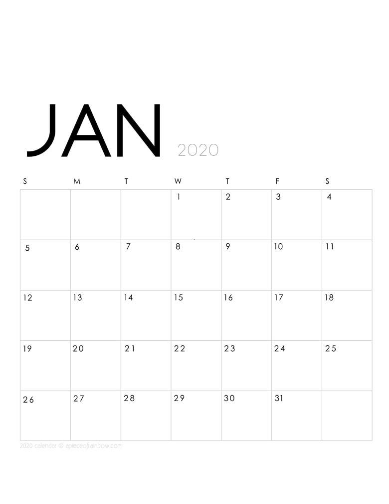 Blank Calendar Jan 2020 Template