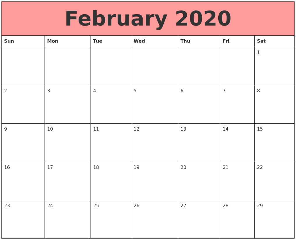 February 2020 Calendar For Students