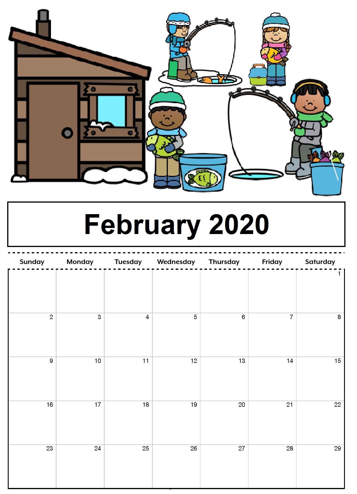 February 2020 Floral Calendar Template
