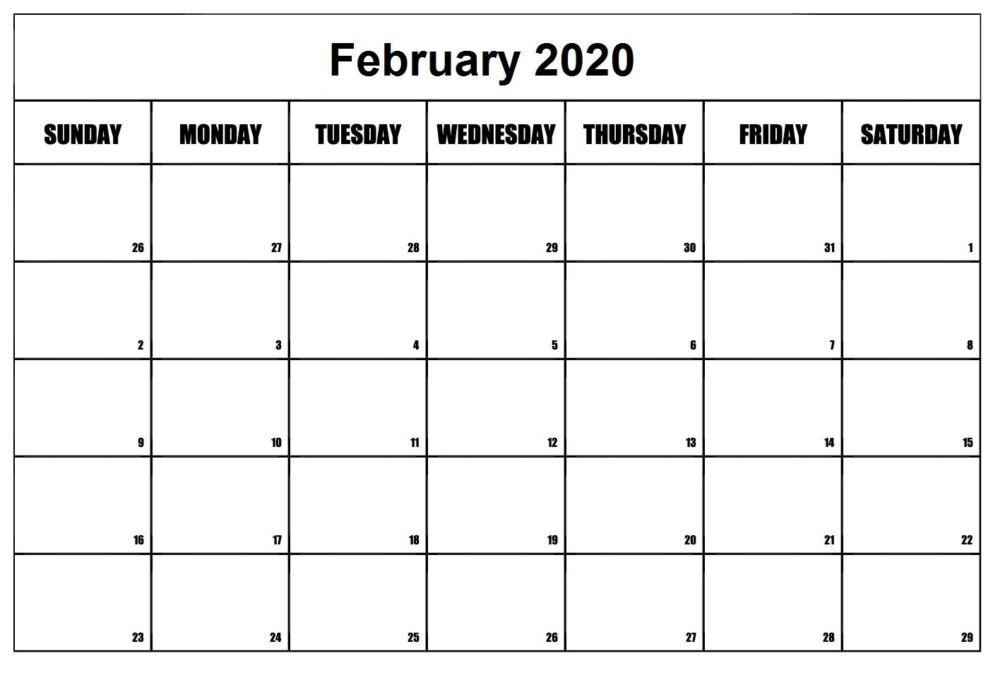 Floral February 2020 Calendar Template