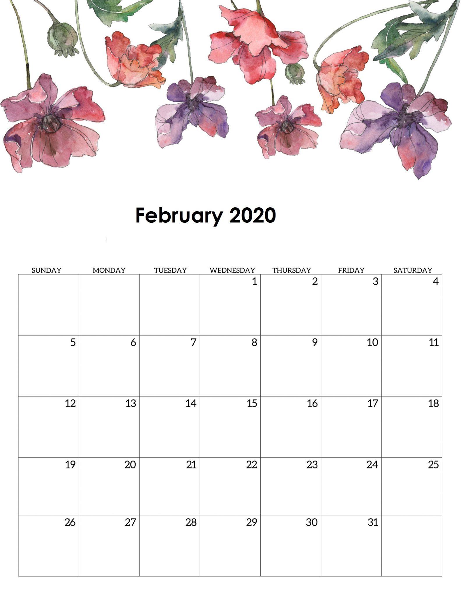 Floral February 2020 Calendar Wallpaper