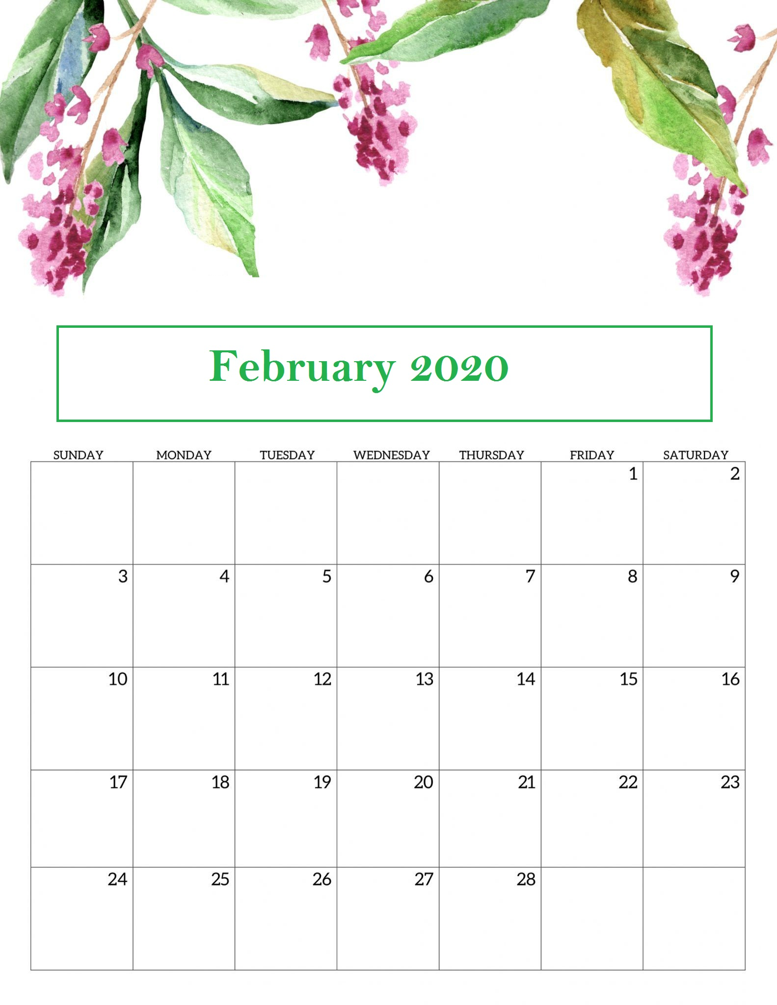 Floral February 2020 Calendar Wallpaper For Desktop Iphone Laptop