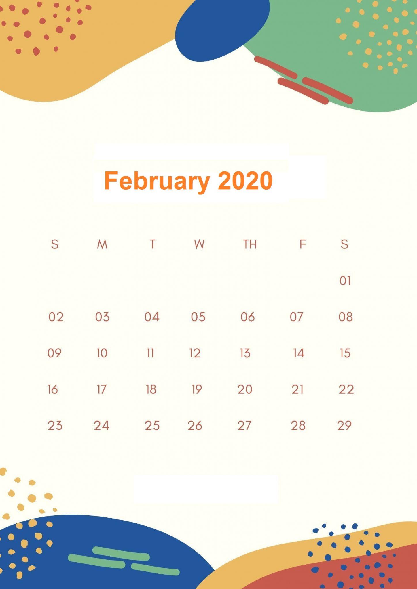 Floral February 2020 Wallpaper Calendar