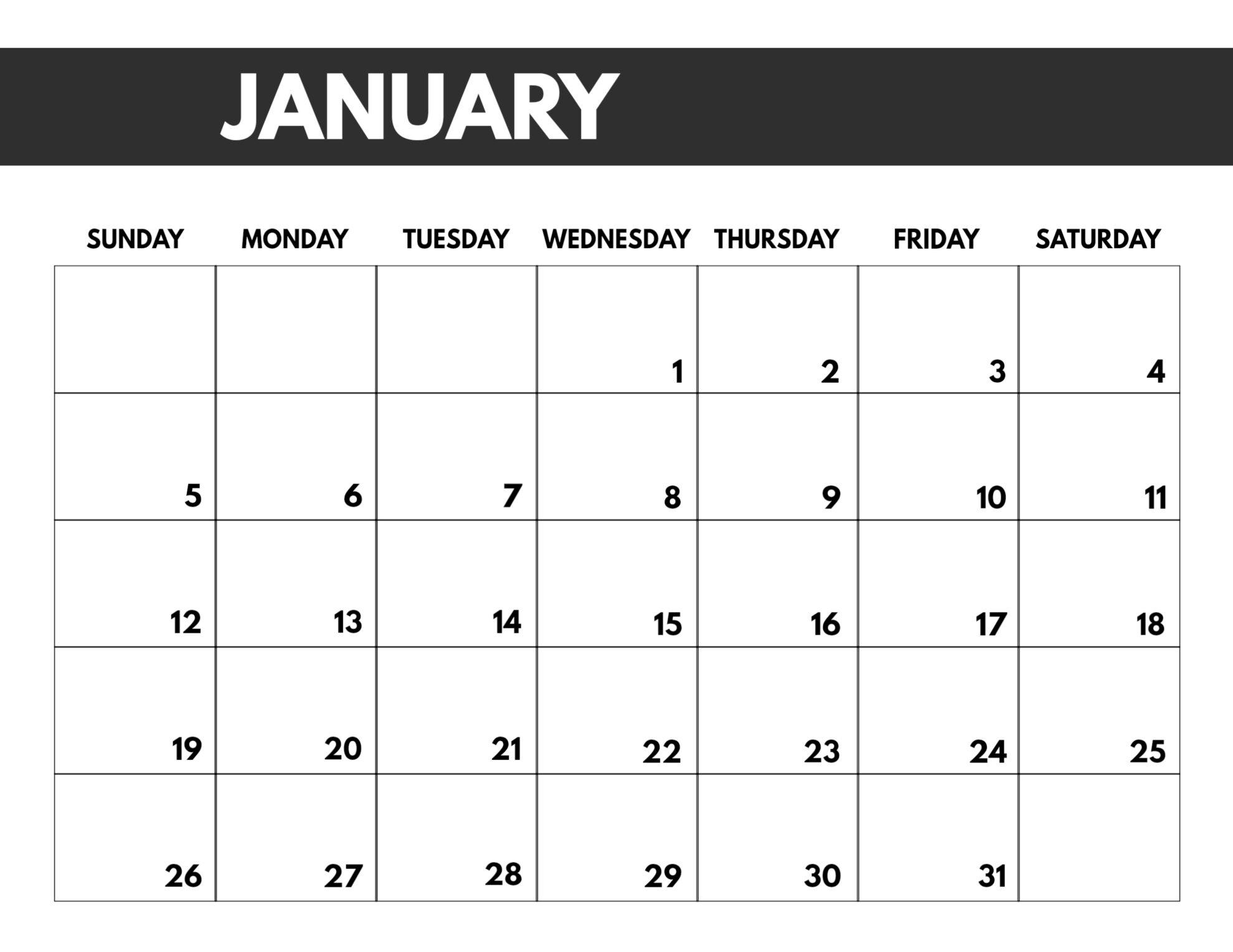 Free Monthly Jan 2020 Calendar
