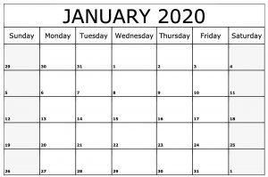 Free Monthly Jan Calendar 2020