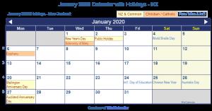 Jan 2020 Calendar NZ