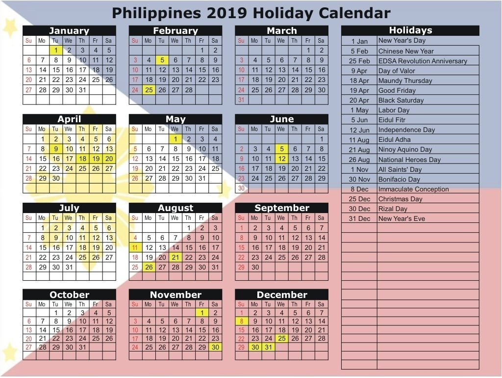 Jan 2020 Calendar Philippines
