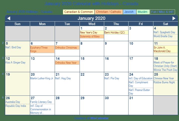 Jan 2020 Calendar canada