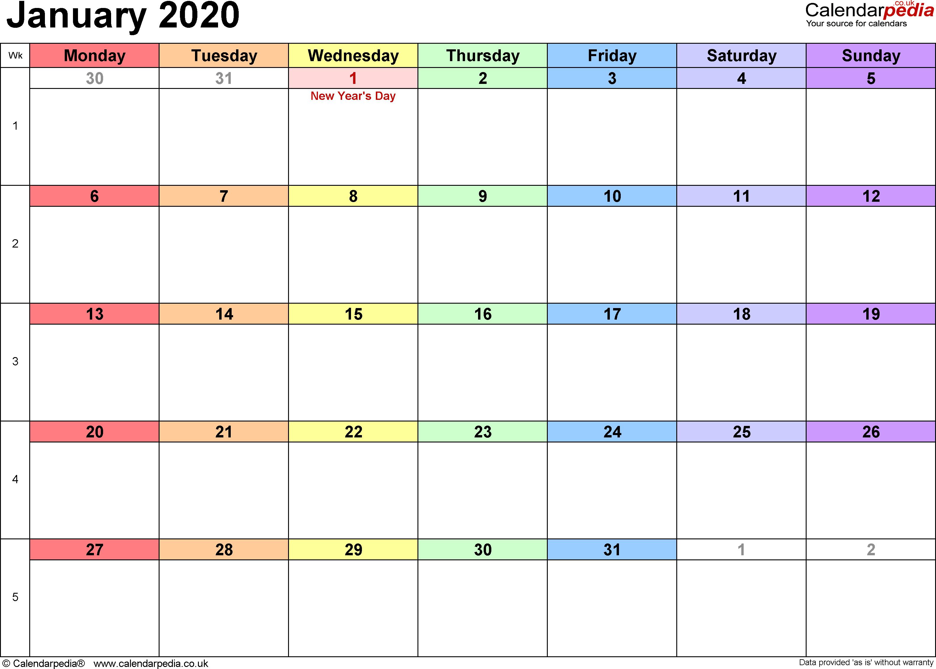 Jan 2020 Calendar uk