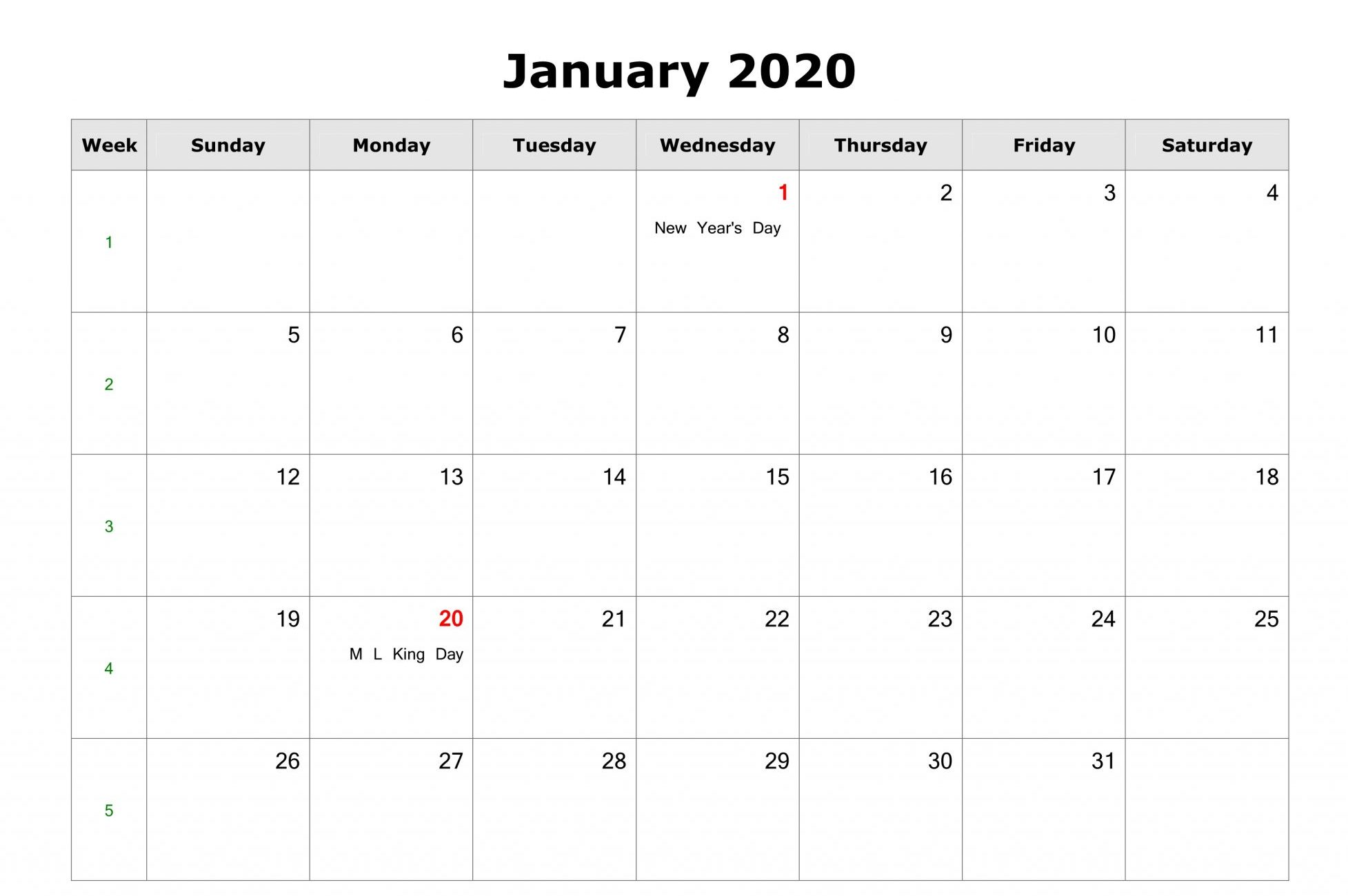 Jan 2020 Calendar with Holidays