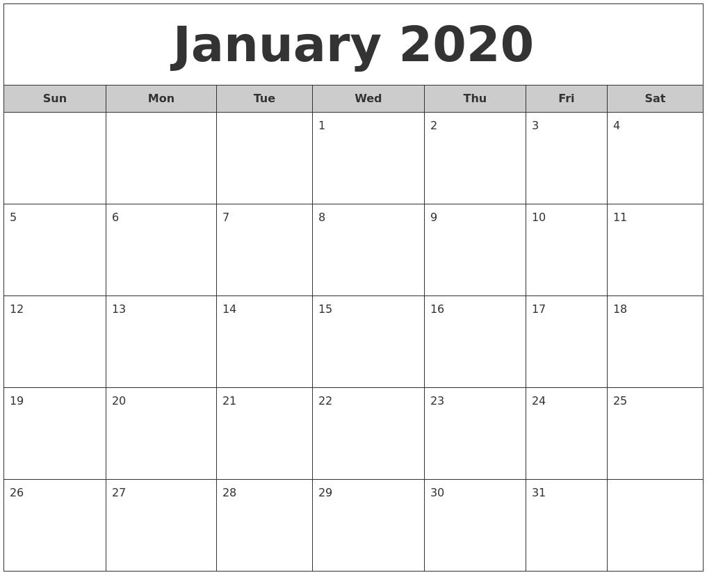 Jan Calendar 2020