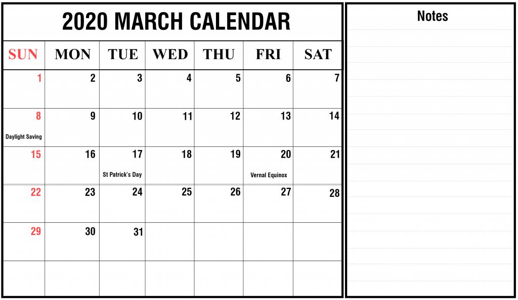 March 2020 Editable Calendar Template Notes