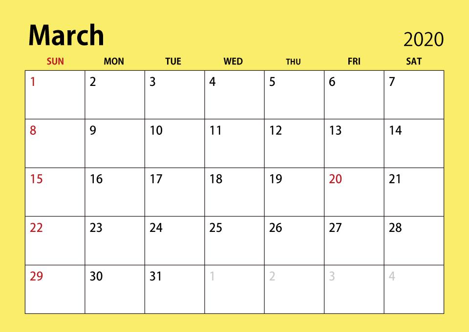 Printable Calendar For March 2020