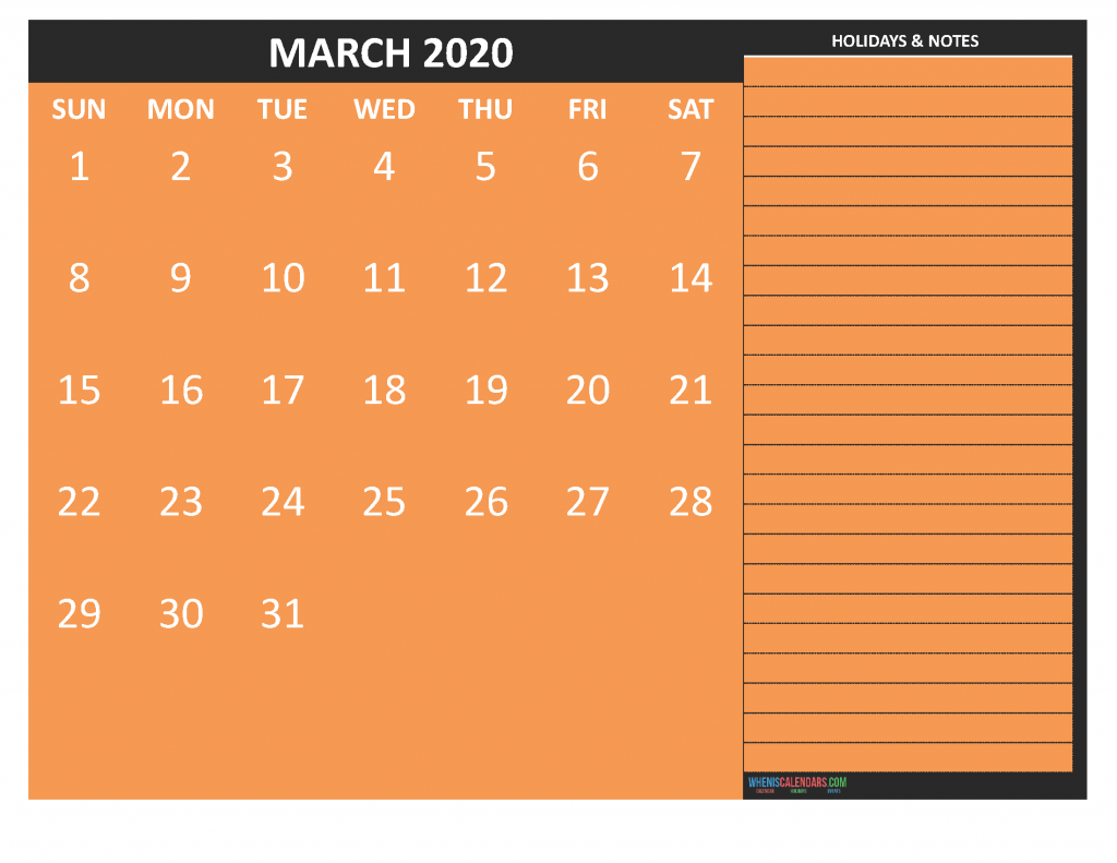Printable Calendar March 2020 with Notes
