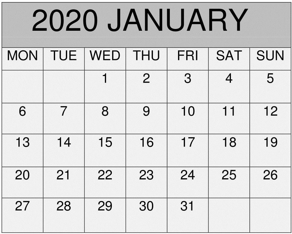 free jan calendar 2020