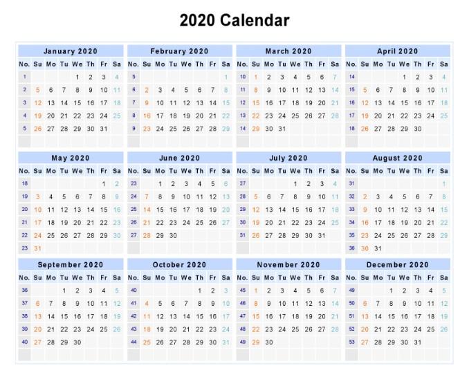 2020 Calendar Excel Landscape