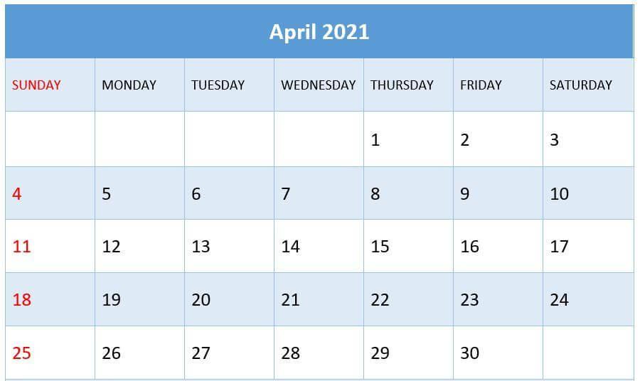 April 2021 Calendar Download