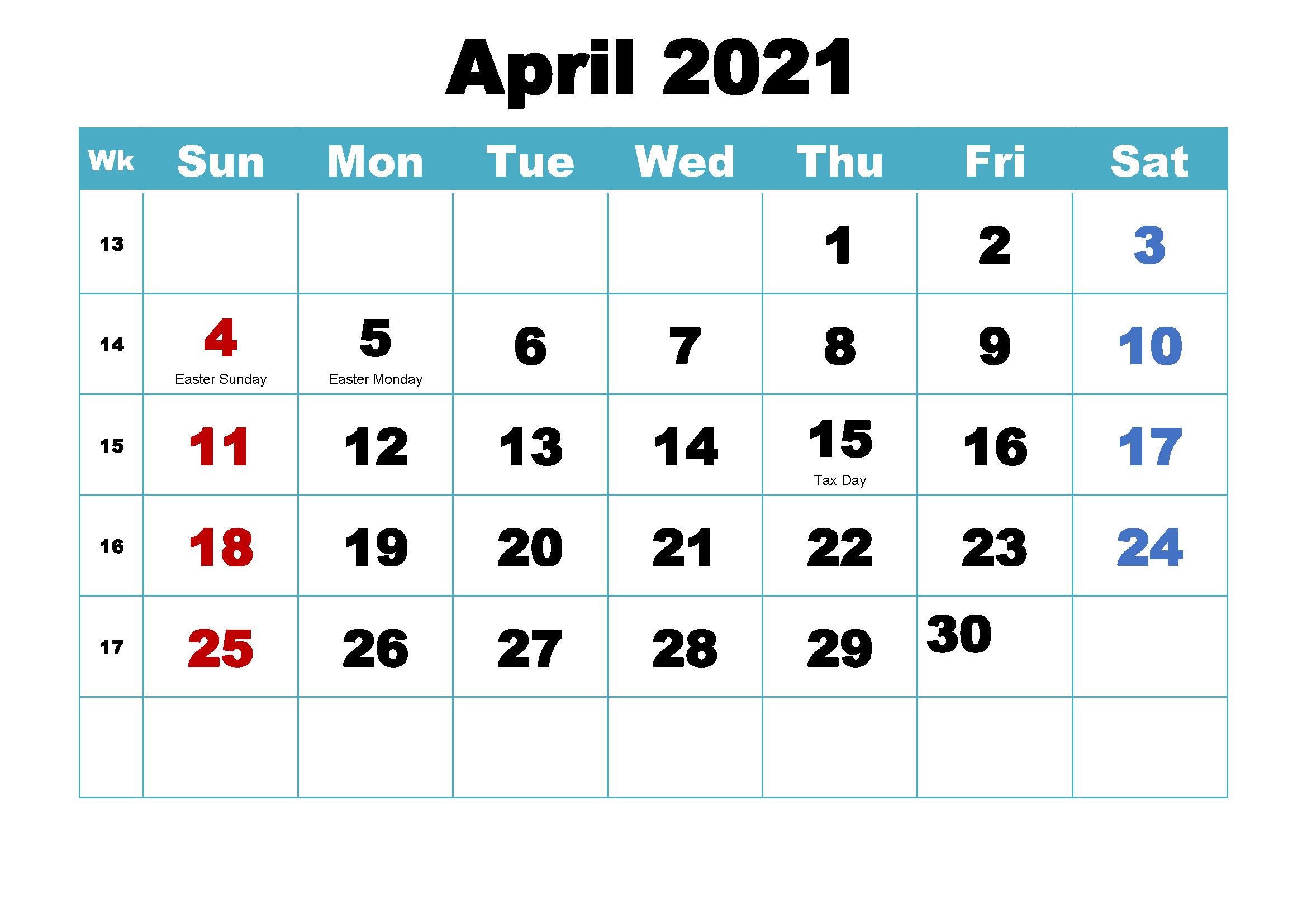 April 2021 Holidays Calendar Sheet