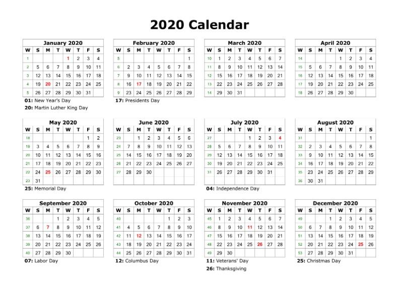 Blank 2020 Calendar Holidays