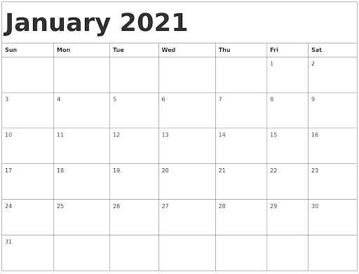 Blank Jan 2021 Calendar Template