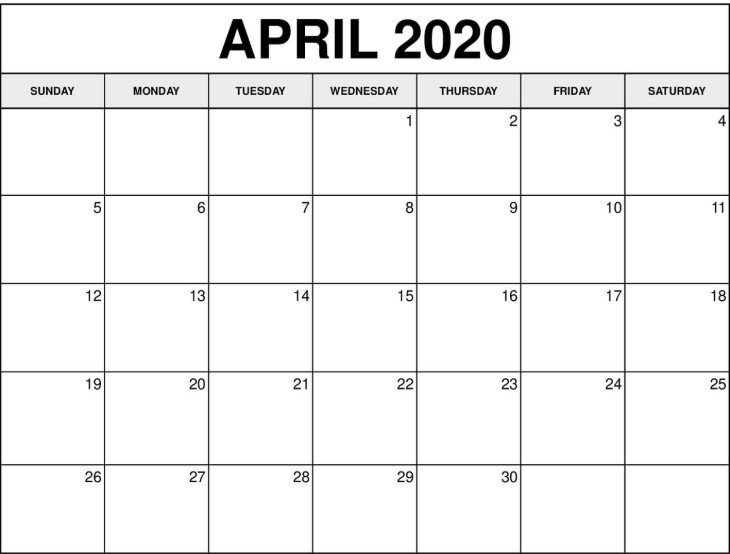 Free Printable April Calendar 2020 Editable Template in PDF Word Excel